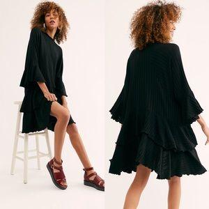 Free People Sweet Rose Oversized Tunic Dress Black